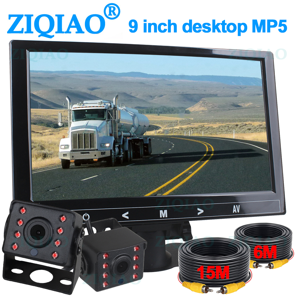 ZIQIAO 9 Inch HD Monitor MP5 Player with IR Night Vision Camera for Truck Trailer Bus RV Backup Camera Monitor Kit P905