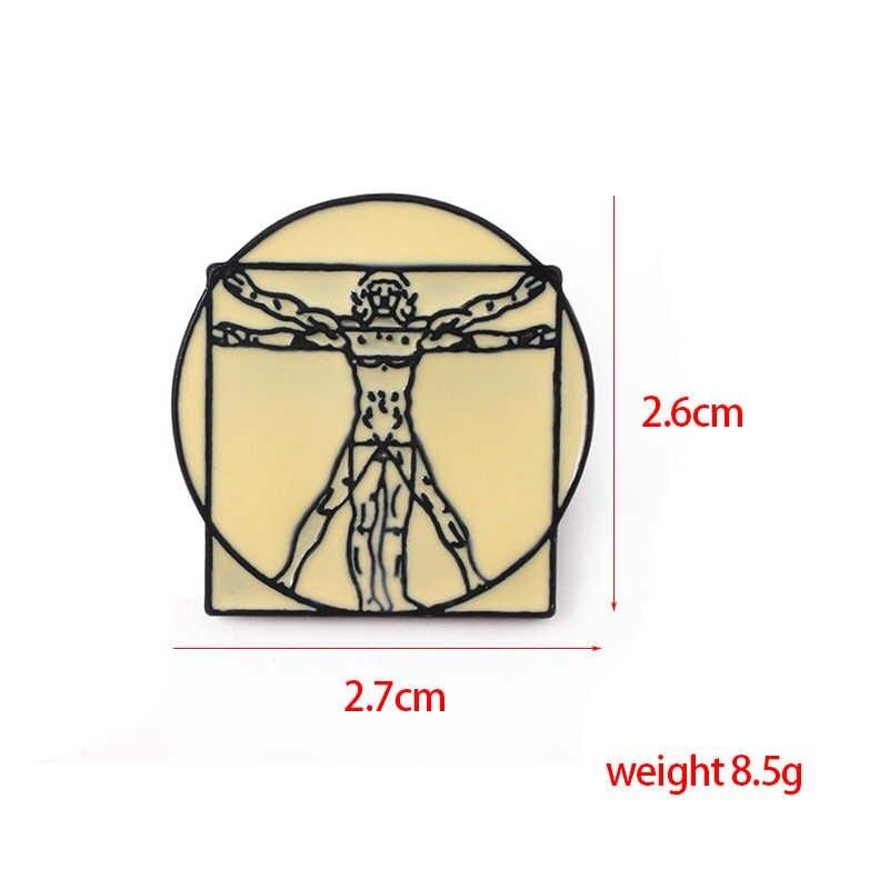 Leonardo Da Vinci Lencana Bros Madonna Litta Gantungan Kunci Uomo Vitruvian Enamel Pin Pria Tas Mantel Perhiasan Hadiah Natal