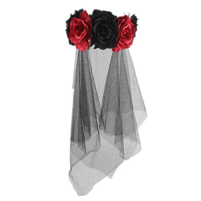 Día de la muerte diadema velo de novia vestido de fantasía disfraz de Halloween accesorios tiara navideña mujeres fiesta negro Rosa flor corona