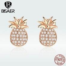 BISAER 925 Sterling Silver Cubic Zircon Pineapple Earrings Stud Earrings for Women Jewelry GXE803