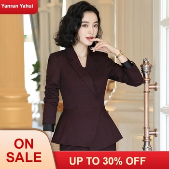 New Office Work Suit, High Quality OL Womens Jacket, Trousers, Two-piece Purple Black Suit  womens suits
