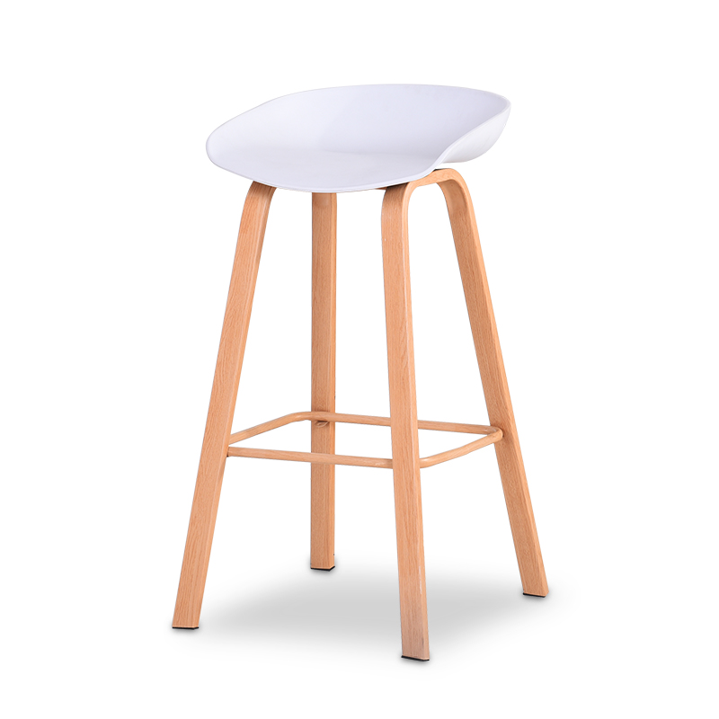 Nordic Solid Wood Bar Chair Home Backrest  Stool Modern Minimalist   Front Desk Leisure High