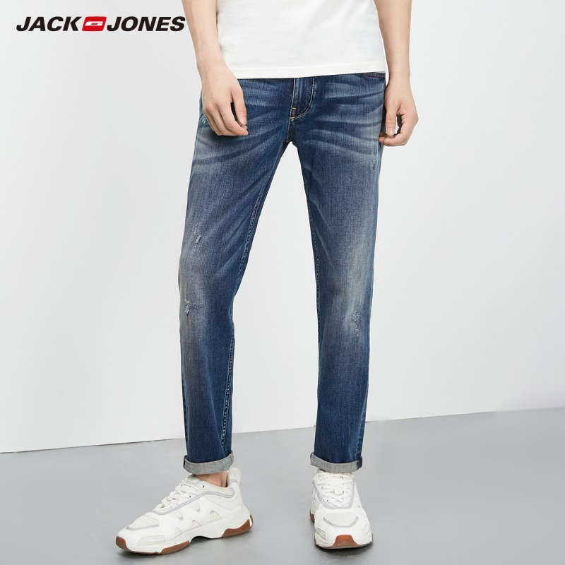 Jack Jones Men's Autumn Stretch Tapered-leg Cropped Jeans Fashion Pants Menswear Basic 219232506