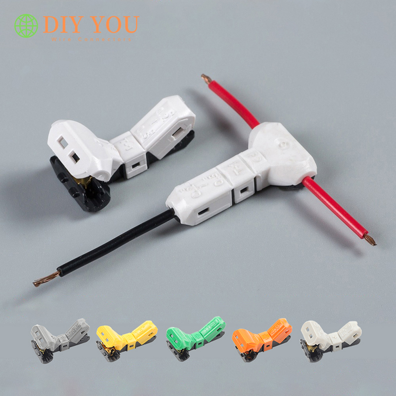JOWX T-1/2/3/4/5/21 Wire Connectors T Type Quick Terminals Block Non-stripping Cable Wiring Connector Joint 23-10AWG 0.3-4mm2