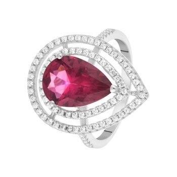 Кольцо из серебра с ситаллом и фианитами R00280