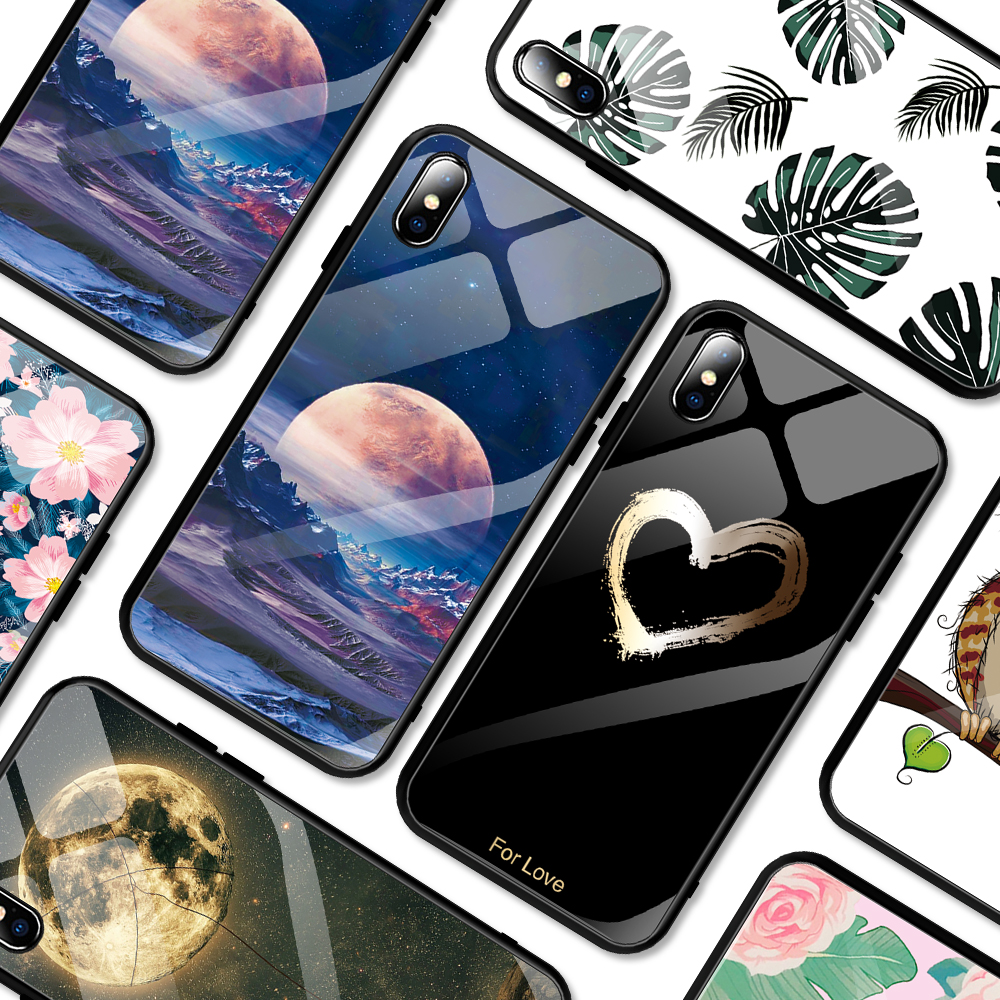 luxury painted tempered glass case for iphone 11 pro max x xr xs 8  7 6 6s universe starry flamingo moon flower pattern soft edgeFitted  Cases