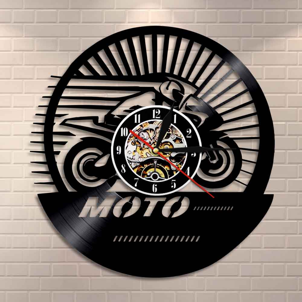 Vintage Motorcycle Speed Racer Wall Clock Motobiker Motocross Vinyl Record Wall Clock Motorcyclist Gifts Decorative Wall Watch