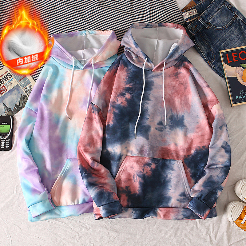 Plus Hoodies Men's Fashion Tie-dyed Casual Hip Hop Hoodie Men Streetwear Printing Loose Hooded Sweatshirt Mens Hoody M-2XL