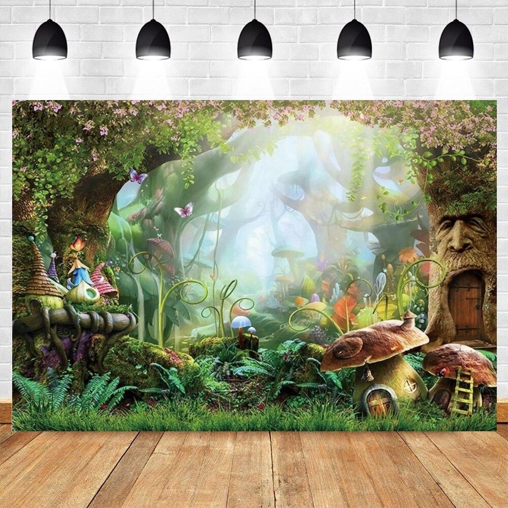 Yeele Backdrop for Photos Fairy Tale Magic Mushroom Forest Vinyl Backdrops for Baby Custom Photographic Backgrounds Photo Shoot