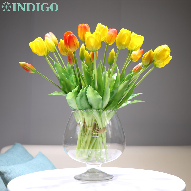 INDIGO-(3 Flowers+2 Bud)Bouquet Real Touch Silicone Tulip High Quality Yellow Tulip Home Artificial Flower Wedding Free Shipping