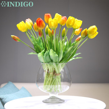 INDIGO-(3 flowers+2 bud)Bouquet Real Touch Silicone Tulip High Quality Yellow Tulip Home Artificial Flower Wedding DropShipping
