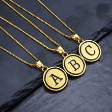 New Simple Gold Color Trendy 26 Letters Pendant Necklace For Women Men Alphabet 60 cm Link Chain Dropship