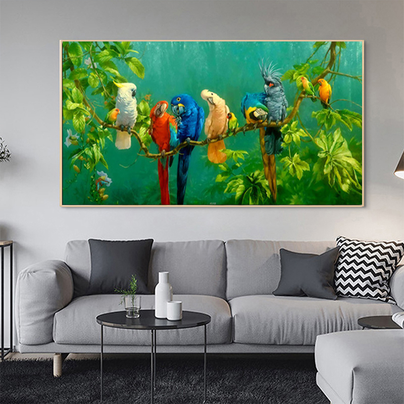 >Modern <font><b>Watercolor</b></font> Tropical Forest Bird Wall Art Painting Parrot Resting On The Branch Canvas Posters For Living Room <font><b>Home</b></font> Decor