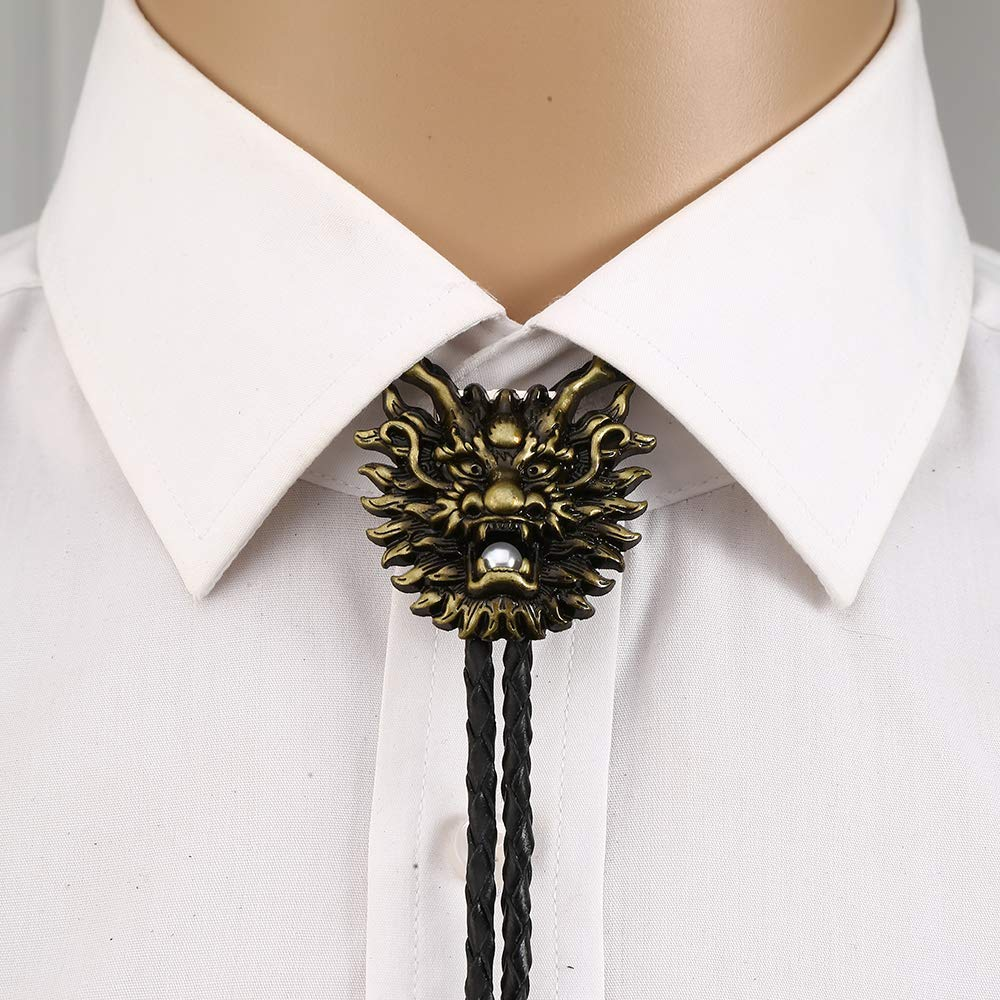 3D Chinese Dragon Head Bolo Tie For Man Cowboy Western Cowgirl Lather Rope Zinc Alloy Necktie