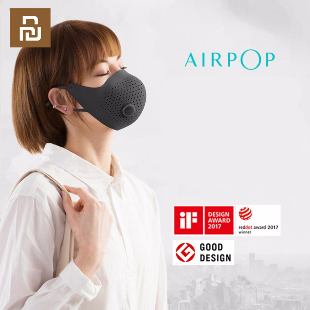 AirPOP Air Wear PM0.3 / Pm2.5 Anti-haze Face Mask With 2pcs Filter Adjustable Ear Hanging Comfortable Face Masks Youpin