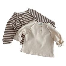 2021 Spring New Baby Boys Waffle Loose Long Sleeve Striped T Shirts Infant Kids Girls Cotton Raglan Sleeve Tops