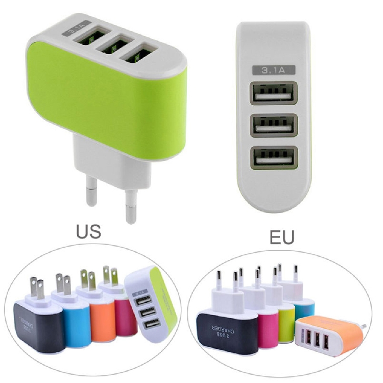3 Ports USB Wall Travel Charger Adapter For iPhone for Samsung Micro USB Mobile Phone Charger 3.1A Charging EU /US Plug image