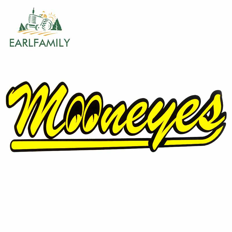EARLFAMILY 13cm X 4.4cm For Mooneyes Scratch-proof Bumper Decal Car Stickers Custom Printing Decoration For Vehicle Window