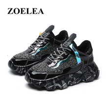 ZOELEA Crystal Luxury Sneakers Increase Graffiti Soles Rhinestone Bling Platform Women Lace-Up Mesh Glitter Dad Shoes