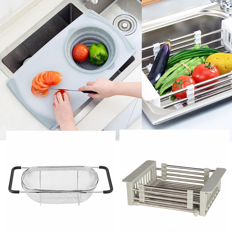 Retractable Stainless Strainer Mesh Hollow Washing Basket Drain Rack Dish Drying Rack Draining 3 In 1 Chopping Cutting Board