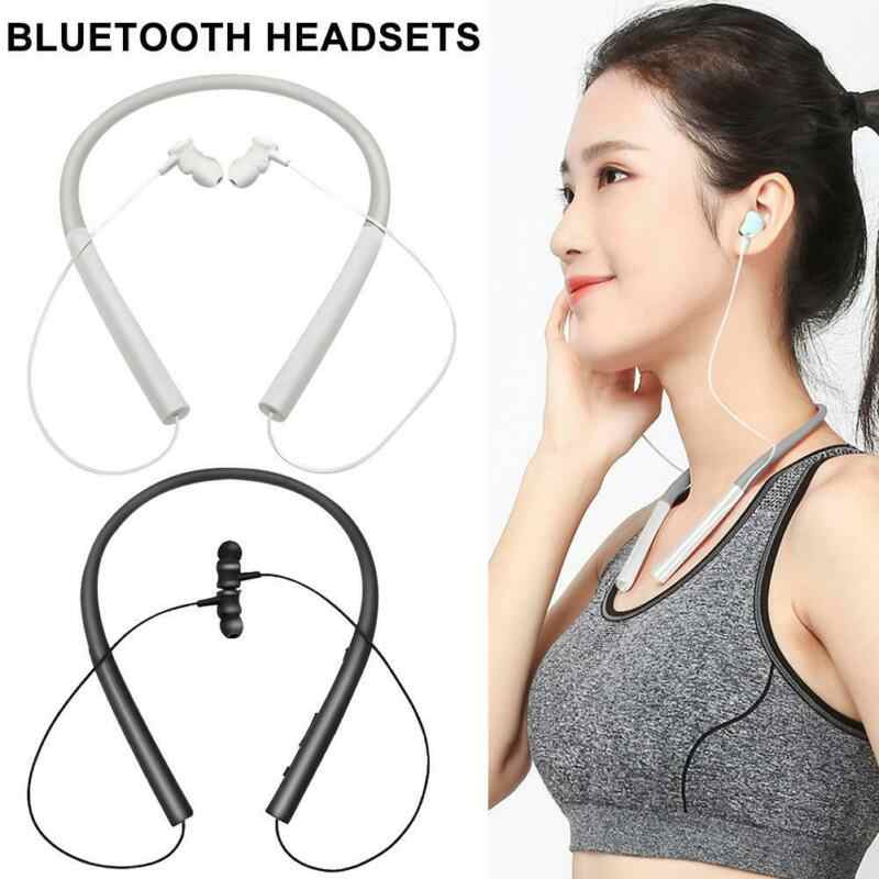 Bluetooth Headset Earphone Wireless Stereo Retractable Earbud Neckband Sport Headphone Deep Bass untuk Ponsel dengan MIC 5.0