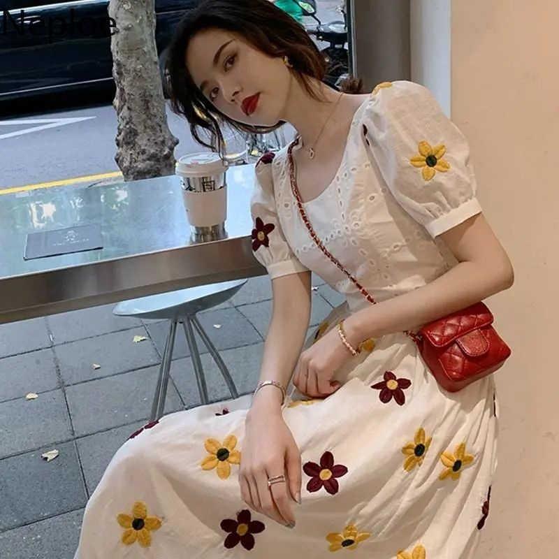 Neploe Bestickten Weissen Kleid Frauen 2021 Sommer Vintage Lange Robe Aushohlen Spitze Puff Sleeve Elegante Kleider Koreanische Vestidos Dresses Aliexpress