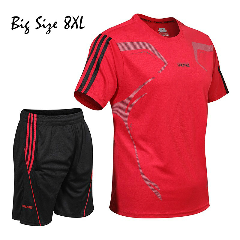 Спортивный костюм для мужчин комбинезон для мужчин; 5XL-8XL для мужчин спортивный костюм набор для бегунов спортивные брюки летний костюм модн...