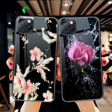 ciciber Luxury Flower Rose Phone Case For iphone 11 Pro Max Tempered Glass Cover for iphone XR X XS Max 7 8 6 6S Plus Funda Capa ciciber dragon ball phone case for iphone 11 pro max xr x xs max tempered glass cover cases for iphone 7 8 6 6s plus funda coque