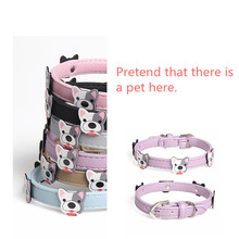 Pet Dog Supplies Soft Colourful PU Leather Cartoon avatar Necklace Accessory Supply Collar For Small Medium