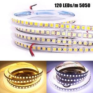 Image 4 - 2835 SMD tira LED 240 LEDs/m 5 M 300/600/1200 Leds DC12V alta brillante Flexible cinta de cinta de cuerda LED blanco cálido/blanco frío