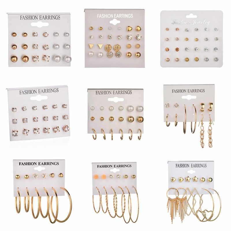 Dongsheng Fashion 12 Pasang/Set Wanita Laporan Crystal Stud Earrings untuk Wanita Tindik Simulasi Mutiara Bunga Anting-Anting