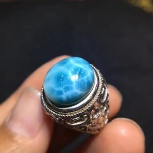 Image 3 - Certyfikat naturalny Larimar srebro regulowany rozmiar damski pierścionek 15x12mm Party prezent miłosny 14x11mm luksusowy kryształ pierścionek AAAAA