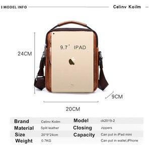Image 2 - Celinv Koilm torba męska znany projektant mężczyźni torby listonoszki Split skóra Crossbody Tote mężczyźni moda wysokie formalne jakości