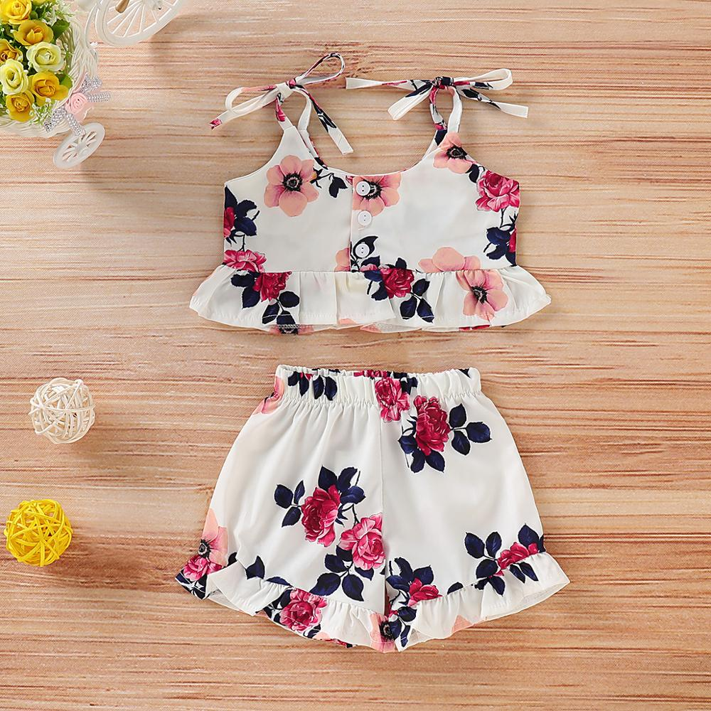 Summer Baby Girl Clothes Set Sleeveless Flower Print Vest Shorts 2pcs Suit Kids Toddler Outfit Children Princess Party Wear