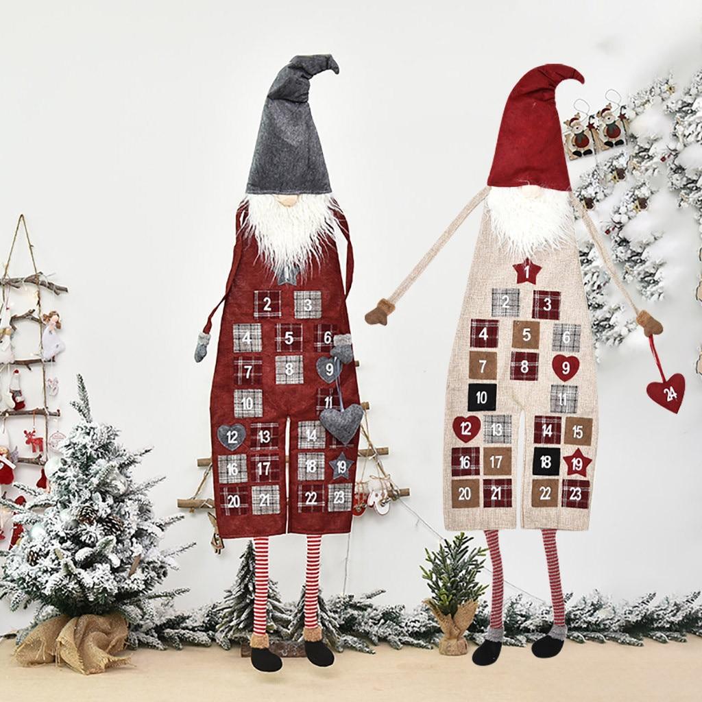50# New Christmas Ornaments Linen Machine Embroidered Santa Claus Calendar christmas home decoration navidad Droshipping