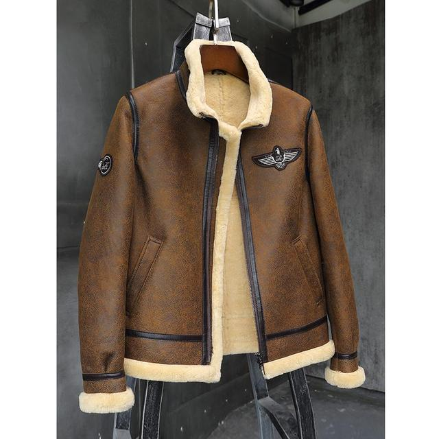 Mens Brown B3 Shearling Jacket Thicken Sheepskin Coat 2019 New Winter Fur Coat Mens Leather Jacket Motorcycle Jacket