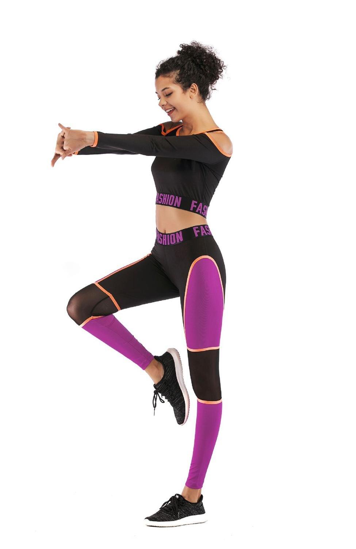 Sexy Strapless Back Hollow Yoga Set letra Patchwork elástico apretado manga larga ropa Leggings ropa deportiva entrenamiento Fitness Suit - 6
