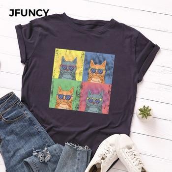 JFUNCY Plus Size Fashion Cat Print Summer T-shirt Women Cotton Tshirt Short Sleeve Tees Tops Woman T Shirt Female Shirts недорого
