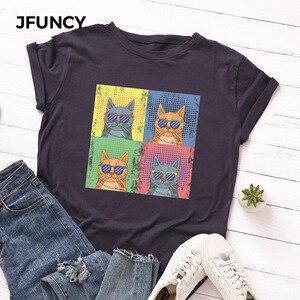 JFUNCY de talla grande de moda gato impresión camiseta de verano camiseta algodón de manga corta Camisetas Mujer Tops mujer T camisa camisas