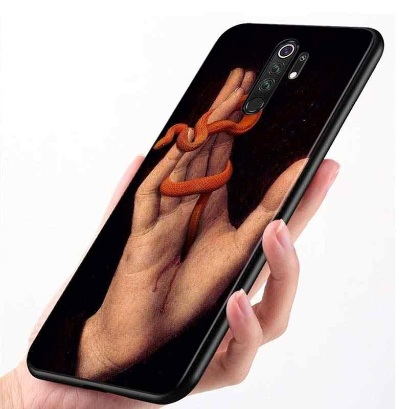 Xiaomi Redmi için not 9 9S Max telefon kılıfı el çiçek yılan sevimli arka Xiaomi 8T 8 7 6 5 Pro 5A 4X 4 siyah telefon kapağı