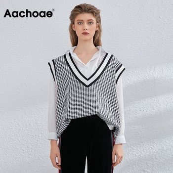 Aachoae Vintage Houndstooth Vest Sweater Women Chic V Neck Plaid Sleeveless Pullover Tops Casual Loose Knitted Waistcoat