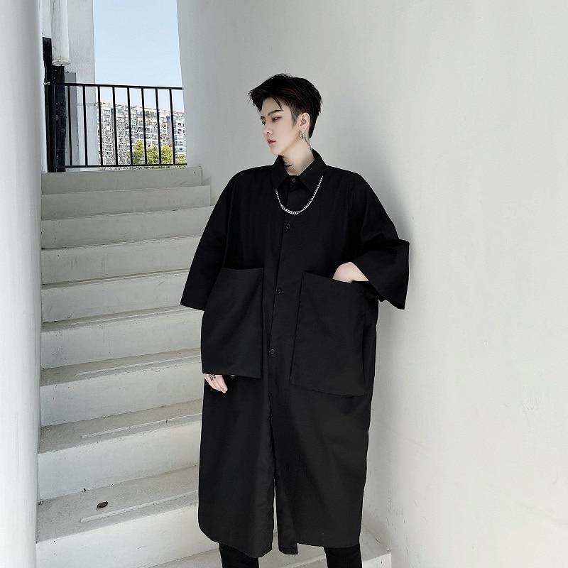 Men Large Pocket Loose Short Sleeve Japan Karajuku Streetwear Shirt Summer Male Women Retro Fashion Long Style Dress Shirt