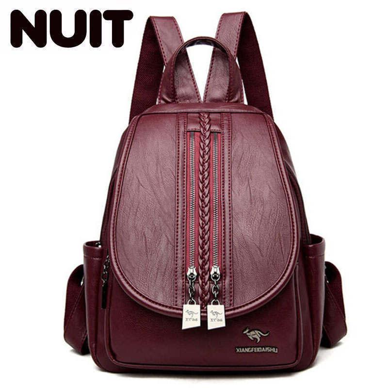 Fashion Women Backpack Sac A Dos High Quality Leather Backpacks For Teenage Girls Female School Shoulder Bag Bagpack Mochila