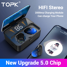 TOPK F13/ES01 TWS 5.0 Bluetooth Earphones V5.0 Portable Stereo Wireless Touch Earbud With Sport Bass Headset LED Power display
