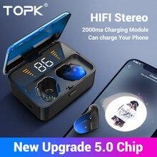 Topk f13/es01 tws 5.0 bluetooth fones de ouvido v5.0 estéreo portátil sem fio toque earbud com esporte baixo fone led exibição energia