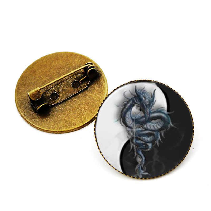 Sitaicery Naga Bros Hewan Baru Khusus Pin Vintage Bros Perhiasan Antik Perunggu Berlapis Kerah Bros untuk Wanita Hadiah