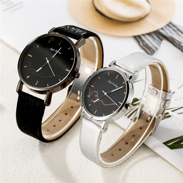 Couples Casual Leather Strap Wristwatch Set 2