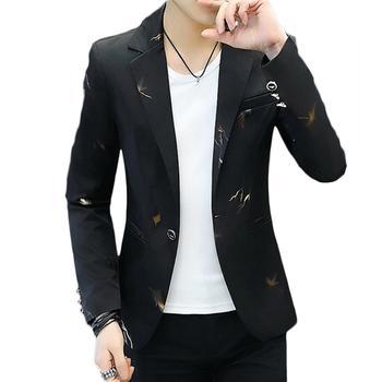 Fashion Men Printed Long Sleeve Lapel One Button Slim Blazer Suit Jacket Coat Jacket Men Korean Style Male Suit Slim Casual Coat