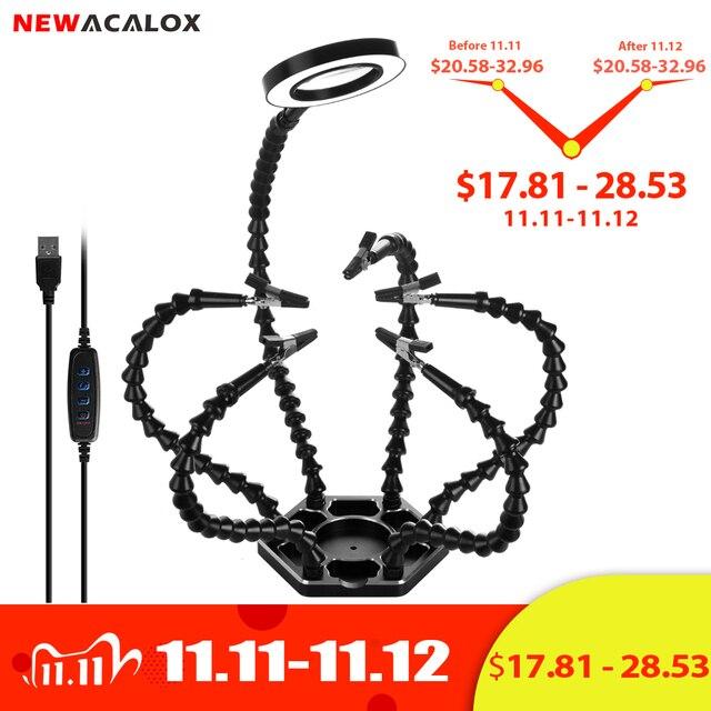 Newacalox溶接ステーション 3X usb led拡大鏡pcbはんだごてホルダーツールワークショップ第三手 6pc柔軟な腕