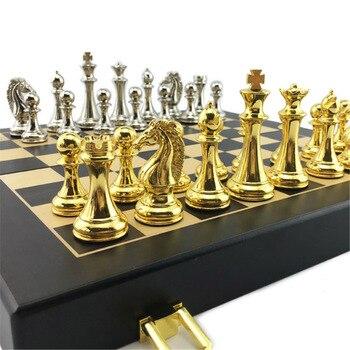 Ensemble d'échecs en métal, plateau pliant en bois, hauteur roi 67mm 1